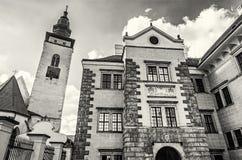 Церковь святого духа и замка, Telc, бесцветного Стоковое Фото