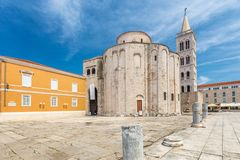 Церковь Святого Donatus в историческом центре городка Zadar стоковые изображения rf