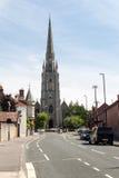 Церковь святой троицы, Stapleton, взгляда от faca холма колокола западного Стоковое Изображение RF