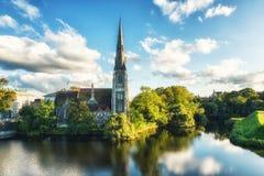 Церковь Сент-Олбанса, Копенгаген, Дания Стоковые Фотографии RF
