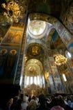 Церковь спасителя на разлитой крови, внутренняя Стоковое Изображение