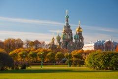 Церковь спасителя на разлитой крови, России Стоковая Фотография