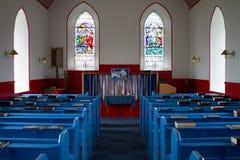 Церковь страны, внутренний взгляд Справедливый остров, Shetland Стоковое Изображение RF