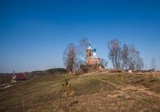 Церковь с голубыми куполами на холме Стоковое фото RF
