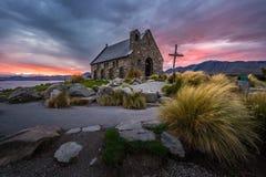 Церковь хорошего чабана, Новая Зеландия церковь хорошего чабана расположена на берега озера Tekapo Стоковое Фото