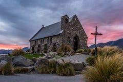 Церковь хорошего чабана, Новая Зеландия церковь хорошего чабана расположена на берега озера Tekapo Стоковое Изображение RF