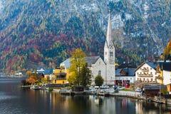 Церковь лютеранина Hallstatt в центральном Hallstatt Стоковые Фотографии RF
