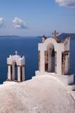 Церковь Belltowers Santorini Стоковое Фото