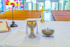 Церковь Catolic - алтар Стоковое Фото