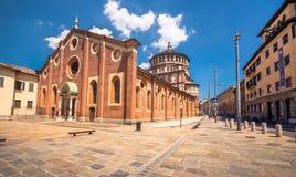 Церковь delle Grazie Santa Maria в милане, Италии стоковые изображения rf