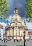 Церковь Frauenkirche нашей дамы на квадрате нового рынка Neumarkt, Дрездене, Германии стоковое фото rf