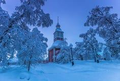 Церковь Jukkasjarvi, Швеции стоковые изображения rf