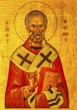 Церковь Madaba Джордан ` s St. George значка Nichlolas Святого золотая Стоковые Изображения
