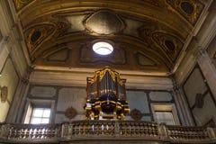 Церковь Madalena, Лиссабон, Португалия; трубы клироса и органа Стоковое Изображение