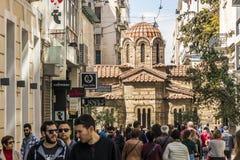 Церковь Panagia Kapnikarea, Афина, Греции стоковые изображения