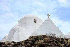 Церковь Panagia Paraportiani, острова Mykonos, Греции Стоковое Изображение RF