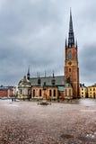 Церковь Riddarholmskyrkan в городке Стокгольма старом (Gamla Stan) Стоковое Изображение