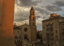 Церковь ` s Кальяри Августина Блаженного на острове Сардинии стоковые изображения