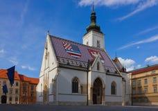 Церковь St Mark в Zagreb Croatia Стоковые Фотографии RF