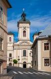 Церковь St Mary, городка Словакии минирования Banska Stiavnica исторического Стоковые Изображения RF