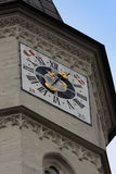 Церковь St Michael, вена, с символами часов башни и austra Стоковые Фото