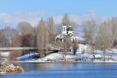 Церковь St Naum Ohridski в зиме стоковое фото rf