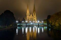 Церковь St Paul стародедовский канал Франция расквартировывает страсбурга Стоковые Фотографии RF