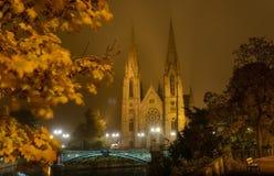 Церковь St Paul стародедовский канал Франция расквартировывает страсбурга Стоковые Изображения RF