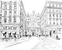 Церковь St Peter Вена, Австрия Иллюстрация вектора эскиза руки вычерченная бесплатная иллюстрация