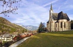 Церковь StPaul Высокогорная деревня Prein der Rax Австралии Стоковое Фото