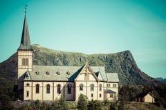 Церковь Vagan в островах Lofoten, Норвегии Стоковые Фотографии RF