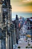 Церков Мехико Мексика Zocalo улиц собора Metropolitcan Стоковая Фотография RF
