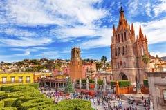 Церков Jardin San Miguel de Альенде Мексика Parroquia Рафаэля Стоковая Фотография