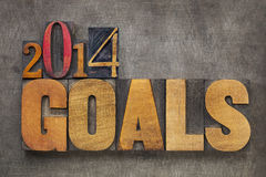 2014 цели в деревянном типе Стоковые Изображения RF