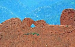 Целовать верблюдов и красных утесов на саде песчаника Колорадо-Спрингс богов Стоковое Изображение RF