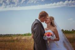 Целовать пар свадьбы в высокой траве Стоковые Изображения