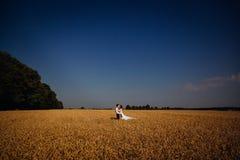 Целовать пар свадьбы стоит в пустом пшеничном поле Стоковое Изображение