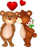 Целовать шаржа пар медведя Стоковая Фотография
