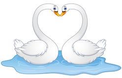 Целовать любовника лебедей пар шаржа иллюстрация вектора