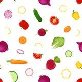 Целый, картина овощей кусков безшовная в плоском стиле Vegetar иллюстрация штока