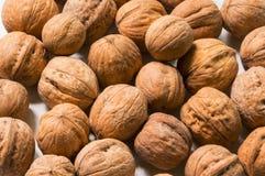 Целый приносить грецкие орехи Справочная информация Конец-вверх Стоковое Фото