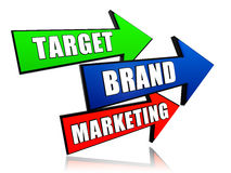 Цель, бренд, выходя на рынок в стрелках Стоковое Изображение