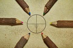 Цель и карандаши Стоковые Фото
