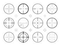 Цель, комплект снайпера визирования значков Звероловство, объем винтовки, символ перекрестия также вектор иллюстрации притяжки co иллюстрация штока