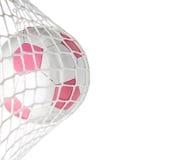 Цель--Розовый футбольный мяч в сети Стоковая Фотография