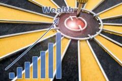 Цель дротика богатства на яблочке с диаграммой богатства Стоковое фото RF