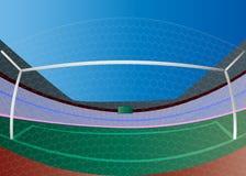 Цель футбола и зеленое поле Стоковое Изображение