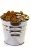 цинк белизны золота монеток ведра предпосылки Стоковое Изображение RF