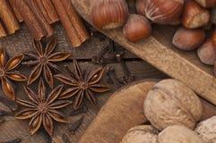 циннамон рождества анисовки варя ингридиенты spices ручки звезды Стоковое фото RF