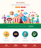 Цирк, знамя заголовка вебсайта партии масленицы с элементами webdesign иллюстрация вектора